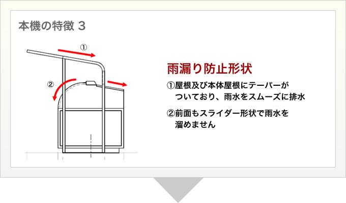 本機の特徴 3 雨漏り防止形状