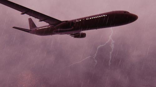 嵐の中の飛行機